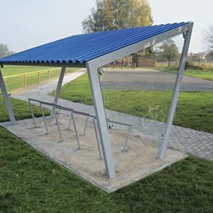 pérgola cubierta para bicis techo chapa metálica
