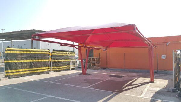 pergola parking textil lona pvc rojo